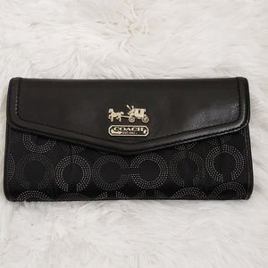 COACH Black Leather/Fabric Envelope Wallet